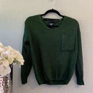 🛍light Knit green sweater with lace up back🛍